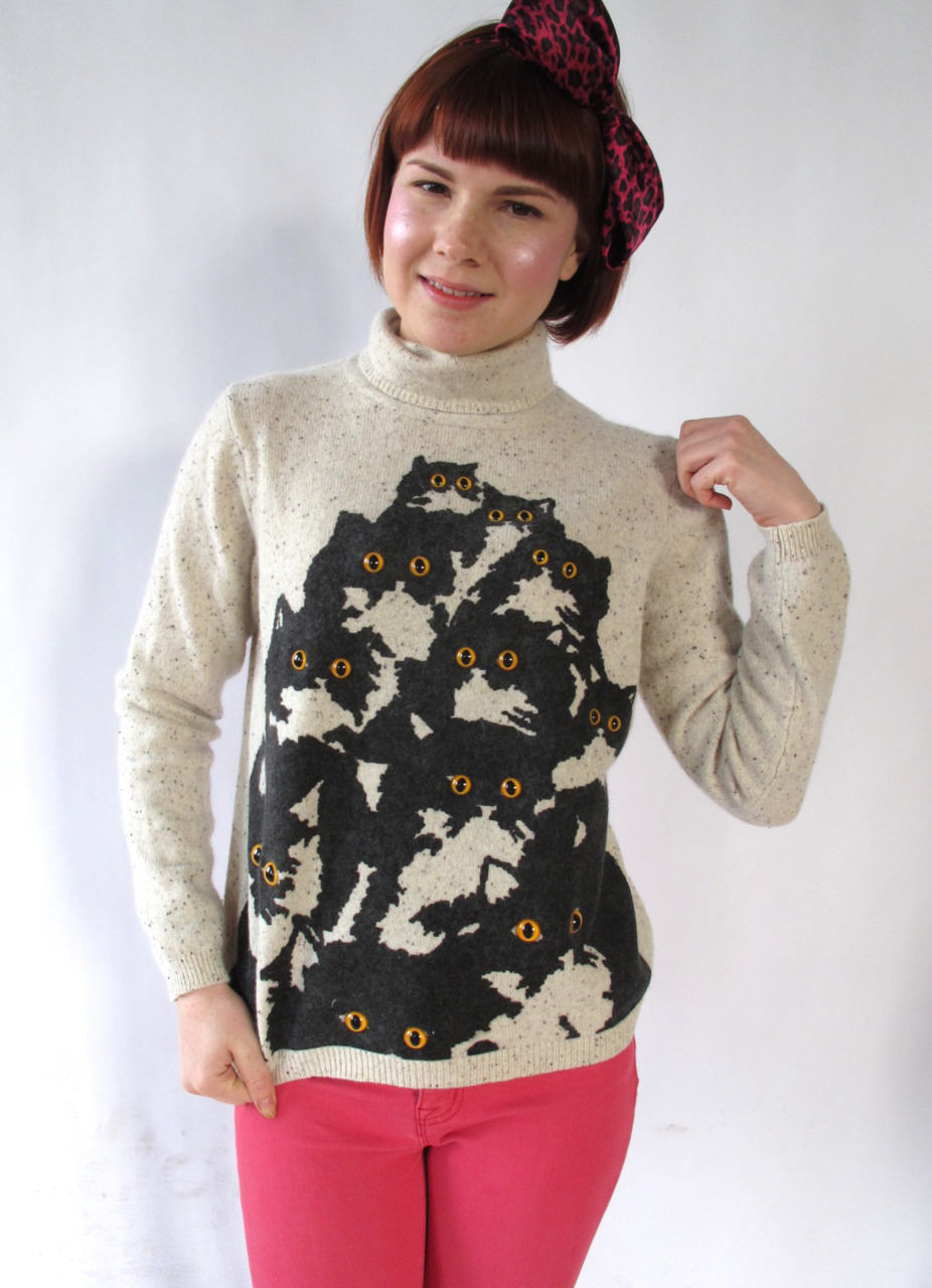 super cute cookies and cream Pretty Snake cat sweater @ http://www.etsy.com/shop/PrettySnake modeled by the beautiful Lizzy Colley (http://connoisseurofcute.tumblr.com/)!