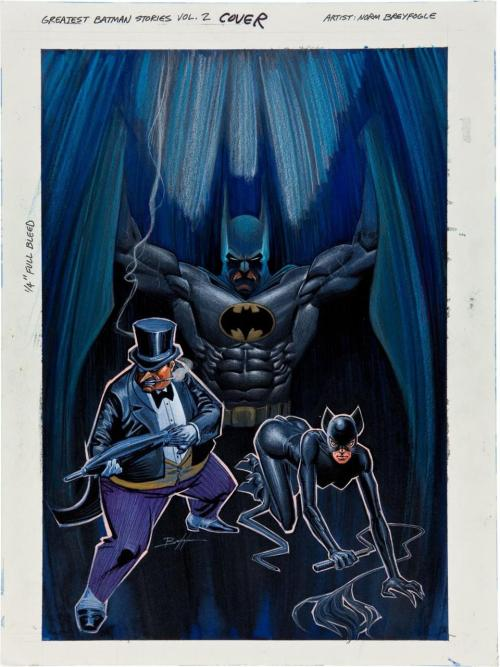 about-faces:  Batman, the Penguin, and Catwoman in Norm Breyfogle's cover for The Greatest Batman Stories Ever Told, Volume 2. Source: Grantbridge Street.