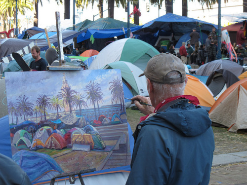 occupy art by fotogail on Flickr.Via Flickr: A block from work, a vibrant scene, and I have been so busy with work that I have only been by to the general assembly twice.