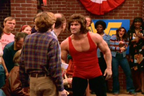 TV Show: That 70's Show  Episode: That Wrestling Show (Season 1, Episode 15)  Air Date: 2/7/1999   Wrestler(s) captured: The Rock (as Rocky Johnson), Ken Shamrock (as Wrestler #1), Jeff Hardy (as Wrestler #2), Ernie Ladd (Rocky Johnson's Manager)  IMDB Page: That 70's Show - That Wrestling Show