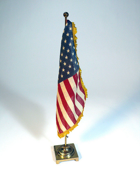 vintage desktop cloth 50 stars FLAG with gold metal flagpole stand - red white blue yellow silk tassels - so americana by SugarCubeVintage on Flickr.Via Flickr:www.etsy.com/shop/SugarCubeVintage