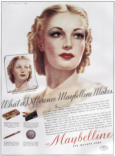 Vintage Maybelline ad by Van Michelle on Flickr.Via Flickr: Mademoiselle Magazine 1940