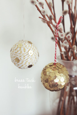 DIY brass tack baubles (via fellowfellow)