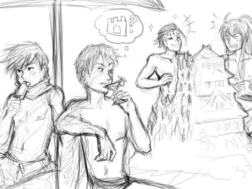was livestreaming a sketch of male vocaloids at the beach… debating coloring it haha kaito, tonio, big al and gakupo at the beach