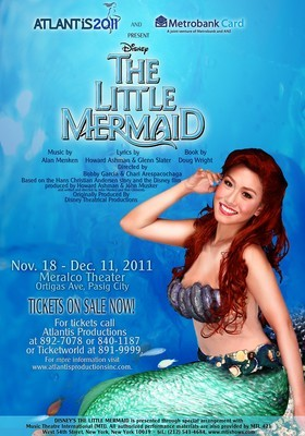 "THE LITTLE MERMAIDNov 18 to Dec 11, 2011Meralco Theatre, Ortigas, Pasig City Stars: Rachelle Ann Go, Erik Santos and a load of other great theatre actors.Directed by: Bobby Garcia & Chari Arespacochaga  Based on the most beloved Disney films of all time and the classic Hans Christian Andersen fairy tale.  Disney's THE LITTLE MERMAID is the sparkling new Disney musical that has made a big splash on Broadway. Some of Disney's most popular songs are featured in the show - including ""Part of Your World,"" ""Kiss the Girl,"" and the Academy Award-winning Best Original Song, ""Under the Sea"" - by the renowned songwriting team of Alan Menken and Howard Ashman.  Ticket Prices:  Orchestra Center - P1500  Orchestra Side - P1350  Orchestra Side (Aisle Side) - P900  Loge Center - P1100  Loge Side - P1000  Balcony Center - P700  Balcony (Left/Right - Rows Q, R, S, T) - P600  Balcony (Left/Right - Rows U, V, W, X) - P500 Contact Details: For ticket inquiries, call Atlantis Productions at  (63 2) 892-7078,  (63 2) 840-1187 or Ticketworld at (63 2) 891-9999. Original article HERE."
