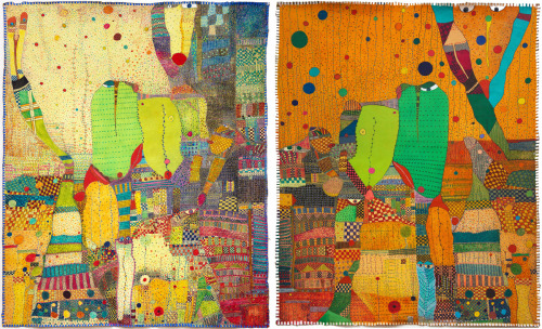 "Rossinante Under Cover III diptych51x84"", mixed media on canvas, 2011"