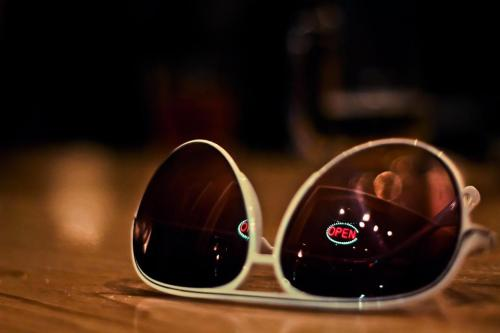 sunglasses at the bar