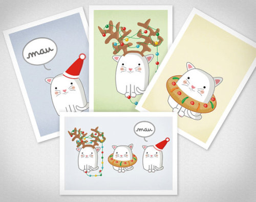 Christmas Cats 4 Postcards by teconlene on Etsy