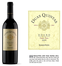 DUAS QUINTAS Tinto/Red 2009 - 89 Pontos/Points - Wine Enthusiast A revista norte americana Wine Enthusiast atribuiu a pontuação de 89 Pontos ao nosso DOC Douro DUAS QUINTAS Tinto 2009. Descrição do vinho: deliciosamente frutado, apresentando camadas de aromas tostados e a ervas. Taninos macios, mas muito bem estruturados. A acidez vem realçar os aromas a frutos vermelhos. The North American Wine Enthusiast magazine gave a score of 89 points to our wine DOC Douro Duas Quintas Red 2009. Description of wine: deliciously fruity wine that has a herb and toast layer and tannins that are soft yet structured. The acidity gives the point to the red berry fruits.