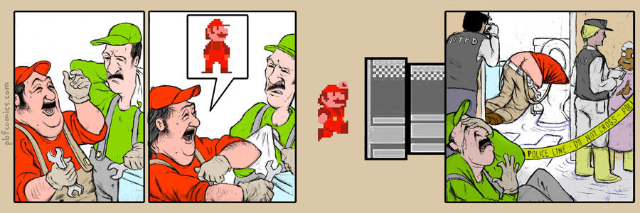 Plumber thinks he's Super Mario - comic strip