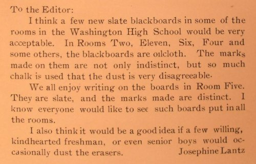 ~ The Habit; Salina Kansas, Washington High School, 1917 via Internet ArchiveSlate blackboards in all classrooms! Public schools have always been the last to get the new technology…