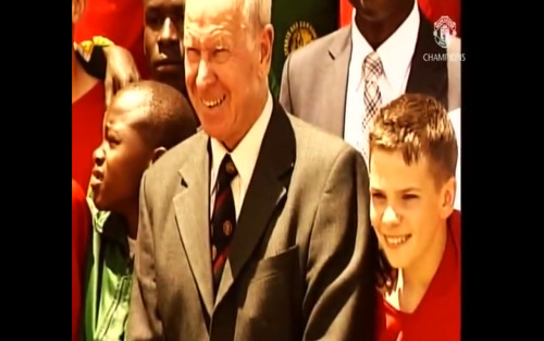 Clevz kiddo with Sir Bobby Charlton