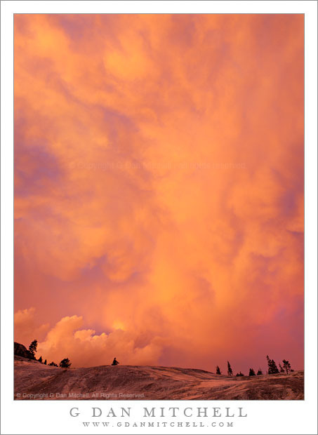 Dissipating Storm Clouds, Sunset by G Dan Mitchell on Flickr.Via Flickr:Dissipating Storm Clouds, Sunset. Yosemite National Park, California. September 20, 2011. © Copyright 2011 G Dan Mitchell - all rights reserved. Sunset light on dissipating thunderstom clouds above granite slabs, Yosemite National Park. Late on this September afternoon in the Yosemite back-country I had a good idea that something might happen around sunset, but I could not have known in advance just how intense the cloud color would turn out to be. The set-up was classic. Thunder storms had built up throughout the afternoon, and by late in the day I would see and hear large storms to my north and east - though I remained right on the edge of the storm potential as I was a bit further west. As evening approached the cloud-building forces began to diminish and the tops of the larger cells were left unsupported and they began to thin and stretch westward, curving up and over my position near Glen Aulin. Knowing that interesting light of one sort or another was probable, I walked to an area of granite slabs and bowls that I had photographed when visiting the area at the start of my trip nearly a week earlier. As I considered a few photographs of the granite and trees in that area, my attention kept being drawn to the sky. At first it remained relatively low contrast, though the thinning clouds started to allow views through falling virga towards further clouds that rose into the sunlight. Then, as the sun dropped and the foreground lost the direct light, the clouds began to light up and take on wildly saturated colors. (A technical note: in many of the photographs, though not in this one, the dynamic range between cloud highlights and foreground was so large that it required multiple exposures separated by up to five stops to capture it all!) I moved to the base of the granite bowl in which I had photographed rocks and small trees a week before when I saw these spectacular clouds building to the north west. The color was simply unbelievable - and you can see that the intense saturated light was not just in the sky, but that it also colored the granite near the bottom of the image. For this photograph I used a short focal length to try to take in a large section of the flowing and wildly shaped and colored clouds.G Dan Mitchell is a California photographer whose subjects include the Pacific coast, redwood forests, central California oak/grasslands, the Sierra Nevada, California deserts, urban landscapes, night photography, and more.Blog | About | Flickr | Twitter | Facebook | Google+ | 500px.com | LinkedIn | EmailText, photographs, and other media are © Copyright G Dan Mitchell (or others when indicated) and  are not in the public domain and may not be used on websites, blogs, or in other media without advance permission from G Dan Mitchell.