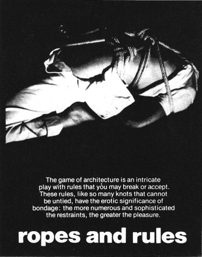 betonbabe:  BERNARD TSCHUMIADVERTISEMENTS FOR ARCHITECTURE: ROPES AND RULES, 1978