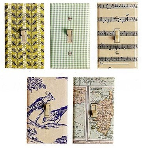 "smallrooms:  Papered Switch Plates: Paper, Decoupage glue, Craft or matt knife, paint brush Instructions:::  Cut paper slightly larger than the switch plate then Flip the paper over and center the switch plate face down on the paper""tracing the opening with a pencil, then mark ""X"" that goes from corner to corner into each of these rectangles.  Glue the back of the paper"",Lay the switch plate face down in the center of the paper and flip it over ""and push the triangle flaps through the switch openings and adhere them to the back of the switch plate.   Cut off the corners and Fold the edges of the paper around to the back, adding more glue if necessary to make them stick. Use the end of a paintbrush to push the paper through the screw holes.let dry for at least 30 minutes.  Apply 2 more coats of decoupage glue, allowing each coat to dry before adding the next coat."