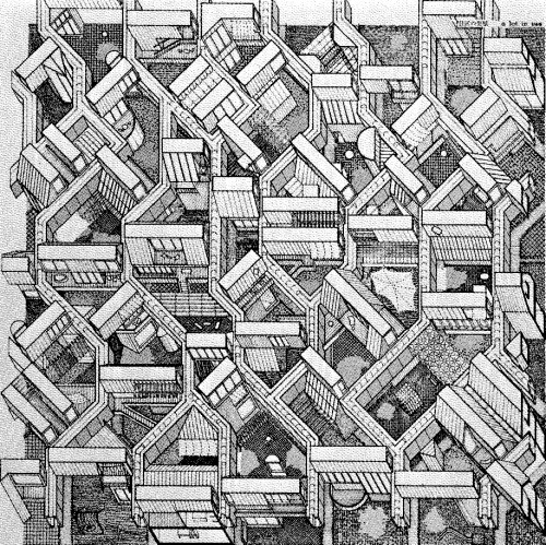 MINORU TAKEYAMA AXONOMETRIC OF THE ROW HOUSE PROJECT, 1974-78