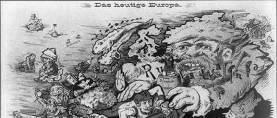 "Map: Anthropomorphic Map ""Europe Today"" (1887) originally posted to the BIG Map Blog."