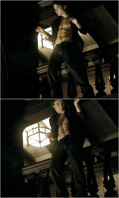 Damon's victory dance as he realizes he has now won Elena over.