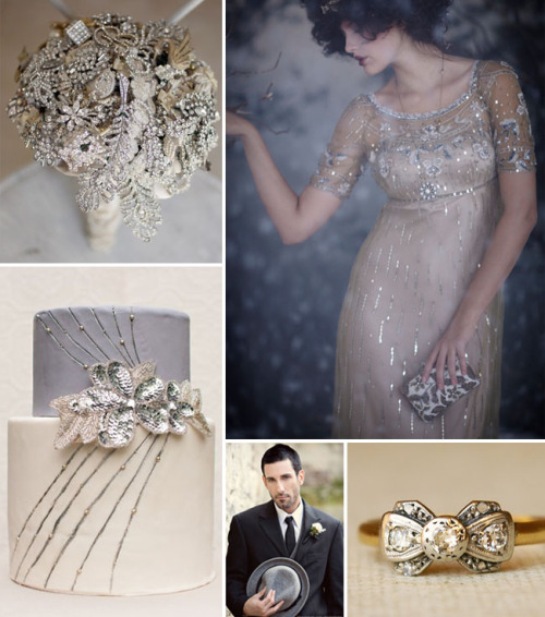 photo credits going clockwise: Alice Hu, Fairy Song Gown from BHLDN, vintage ring from Luxe Deluxe, This Modern Romance, cake by Cupcakes Couture Manhattan Beach (via Inspiration Board #42: Vintage Glam Winter Wedding | Green Wedding Shoes)  more winter wedding inspiration… very art deco, i'm mad about that vintage ribbon ring and every other element of this inspiration board including the bouquet which surprised me because i've been kind of over the whole brooch bouquet for a while now.  this could also be a great inspiration board for a new year's wedding with all of those sparkles and glitter!