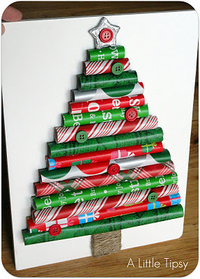 Wrapping Paper Christmas Tree  http://www.alittletipsy.com/2011/11/elmers-craft-tell-party-giveaway-how-to.html