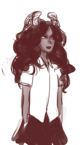 headcanon: trolls with long hair often have to untangle it from around their horns. alive aradia probably didn't care, though.