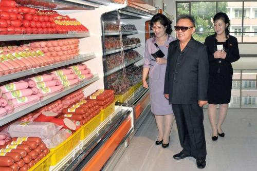 kimjongillookingatthings:  looking at sausages  I think this is my favorite. I'd like to imagine he's making a penis joke.