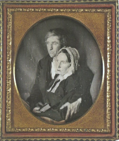 ca. 1845, [portrait of a gentleman holding his dead wife] via Exposures: Photography and Death, Audrey Linkman