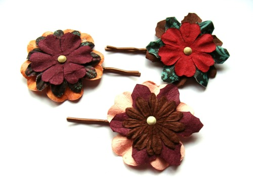 "More flower hairpins.  These are made with flowers from the Prima ""Essentials - Melody"" pack.  I like the browns and pinks from this collection, but overall it isn't my favorite line from Prima.  The colors are a bit random."