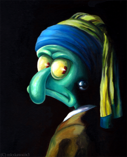 deviantart:  Squidward with a Pearl Earring by *Mkxkawaiix3