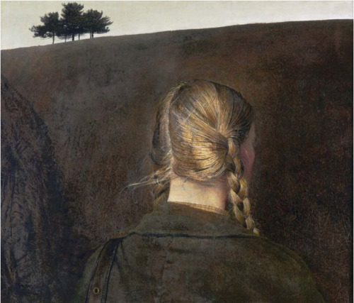Andrew Wyeth  Farm Road (A Helga painting), 1979  Tempera on masonite 27 1/8 X 28 REBIRTH OF THE TEMPERA TECHNIQUE One of the earliest types of painting known to obtain a high degree of technical accuracy was tempera.  The medium engages water with a base of glue: either animal (egg, honey, gelatine, cheese, or vegetable), or gum (gum arabic, gum of the cherry tree and fecula). Its uses date back to the primitive paintings of the Ancient Greeks, Romans and Egyptians.  Tempera was also used by the early Florentines in the 15th Century, and famously mastered in works such as The Birth of Venus by Sandro Botticelli.Subsiding with the Great Masters of the Renaissance, the technique was perceived as impossible to produce realistic effects of the third dimension.  It proved difficult to control: due to its rapid evaporation of water, an artist could not work quickly enough to sustain a figure in the atmosphere. The paint dried too fast for the artist to blend or glaze, leaving the image in a flat tone.  It was Jan Van Eyck (1382?-1441?), that popularized a new era of incorporating oils into tempera, which allowed for a more pliable medium, freeing the artist from time and dimensional constraints.  Thereafter, the popularity of tempera was left behind as primitive.Diminished for centuries, the awakening of tempera has been on the rise. The Pre-Raphelites, a small group established in 1848, made efforts to explore it, hoping to return to the ways of classic art.  However, it wasn't until the past few decades that the medium began to gain in popularity. There is an enchantment possessed by the tempera medium. The limitations in the technique offer a flat decorative quality that stands in great contrast to the masses of heightened color variation and form not found in oils. Present day artists are captivated by this, hoping to obtain and recreate the medium's mastery.