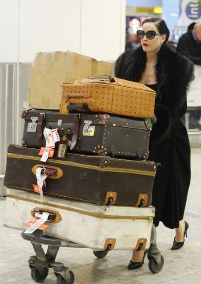 Loving the classy look of the vintage trunks luckymag:styleite:   Dita, you so glam.  You can't trust anybody but yourself with your vintage trunks.