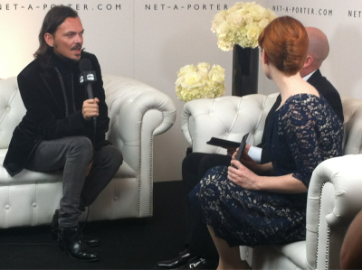 Matthew Williamson chats to NET-A-PORTER TV in the NET-A-PORTER lounge #bfa