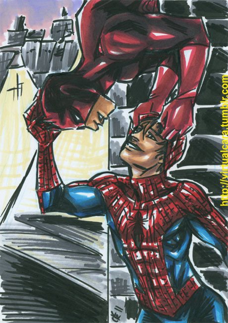 Commission for a shippy Daredevil & Spider-Man for castlechariot! 5x7 brushpen & marker. Want one of your own? Check out this post.