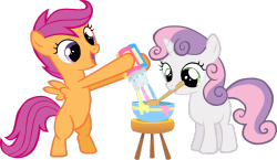 Scootaloo and Sweetie Belle mixing paint~