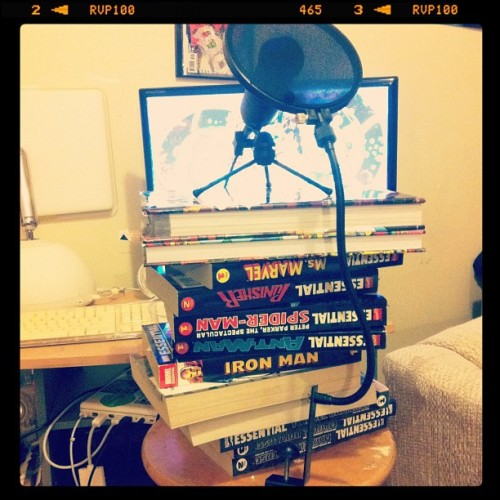 My @leaguepodcast setup (Essential Podcasting, Vol #1) #comics #MARVEL (Taken with instagram)