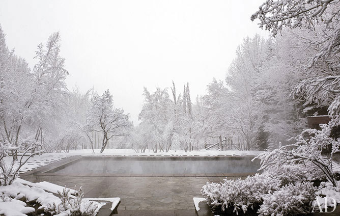 georgianadesign:  Heated pool in the Aspen snow. Architectural Digest.