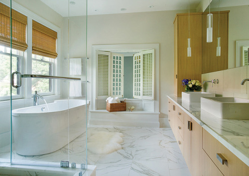 LDA Architecture & Interiors Sleek and shiny modern bathroom.