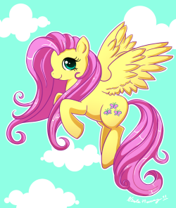 It's Fluttershy! I'm really proud of this one, I think my art's improving! I  couldn't help it, I had to do another MLP:Friendship Is Magic fanart! I  think Fluttershy is my favorite MLP character, even though I really  can't choose one I love her tiny, soft voice and kind heart. She's such a  sweetheart! <3 My deviantart account: http://http://cocoru.deviantart.com/