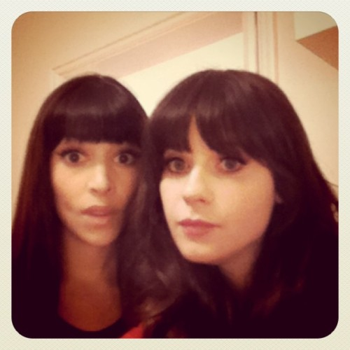 zooeydeschanel:  @hannahsimone and I getting ready for ustream! (Taken with instagram)  Cantiiikkk bangeettt!!!