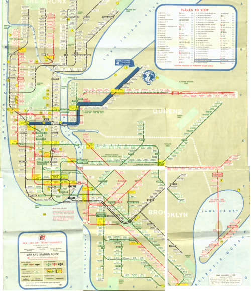 NYC subway system map 1964