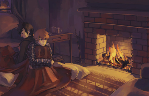 Boys being cozy. (Livestream nov27-28) (be sure to view high res. Also on DA.)