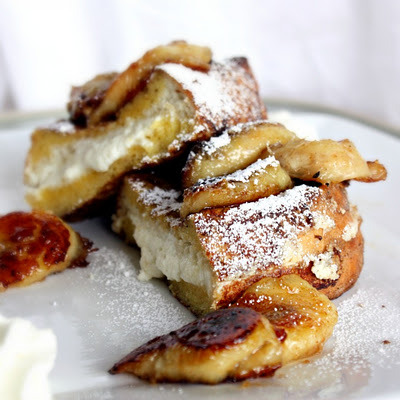 Ricotta Stuffed French Toast with Caramelized Bananas