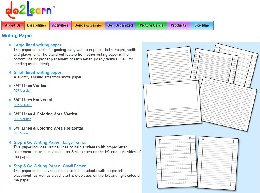 Do2Learn…Excellent resource for writing paper. #elemchat #spedchat #paper #writingpaper Included in  Classroom Printables You may also like… Free Online Graph/Grid Paper Illuminations: Dynamic Paper Tool The Amazing Incredible Handwriting Worksheet Maker