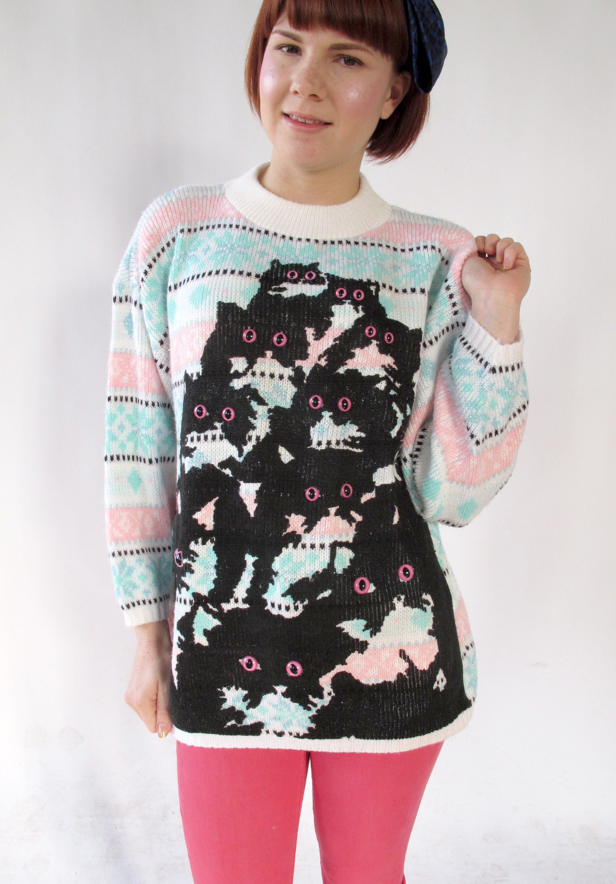 pastel kitty ski sweater by Pretty Snake @ http://www.etsy.com/shop/PrettySnake