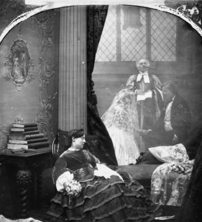 In an early example of 'double exposure', this Victorian 'narrative' photograph depicts a young woman dreaming of her forthcoming wedding, UK, c. 1860
