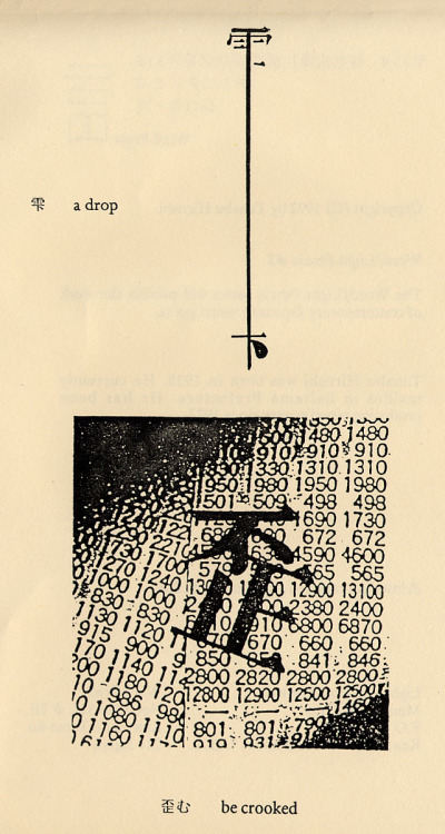 a drop  Tanabu Hiroshi was born in 1938. He has been producing visual poems  since 1977. His work begins in exploration of the Kanji characters used  in writing Japanese moving toward greater abstraction as he has developed  his personal approach to poetry.