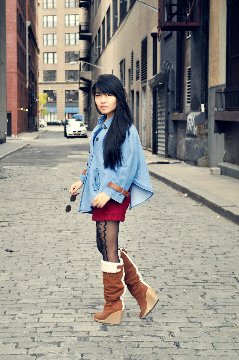 Nicole - Tribeca, NYCDenim Cape from Singapore // Shearling Boots // Peace & Love
