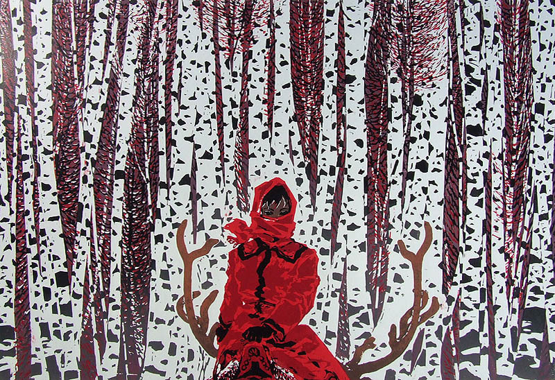 silverbluebird:  Chen Yuping (b 1947) 'Pretty Girl in the Snow' (1993) | woodblock print (via Cuaderno de Retazos)