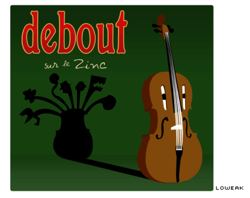 "Today, a ""Debout sur le zinc"" Illustration ""Debout sur le Zinc"" is an awesome French band Let's check www.dslz.org and listen on DEBOUT SUR LE ZINC 