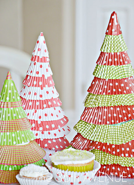 cajunmama:  (via Make Cupcake Liner Christmas Trees.) tutorial